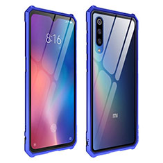 Coque Rebord Contour Silicone et Vitre Transparente Miroir Housse Etui pour Xiaomi Mi 9 Pro Bleu