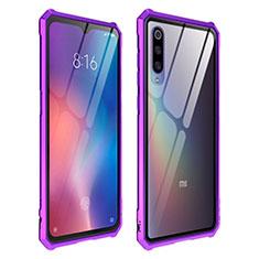 Coque Rebord Contour Silicone et Vitre Transparente Miroir Housse Etui pour Xiaomi Mi 9 Violet