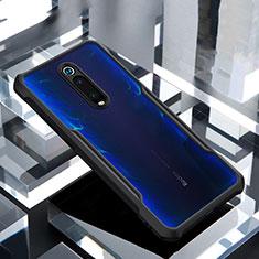 Coque Rebord Contour Silicone et Vitre Transparente Miroir Housse Etui pour Xiaomi Mi 9T Noir