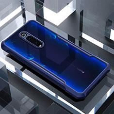 Coque Rebord Contour Silicone et Vitre Transparente Miroir Housse Etui pour Xiaomi Mi 9T Pro Bleu