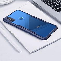 Coque Rebord Contour Silicone et Vitre Transparente Miroir Housse Etui pour Xiaomi Mi Mix 3 Bleu