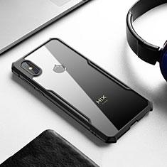 Coque Rebord Contour Silicone et Vitre Transparente Miroir Housse Etui pour Xiaomi Mi Mix 3 Noir