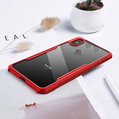 Coque Rebord Contour Silicone et Vitre Transparente Miroir Housse Etui pour Xiaomi Mi Mix 3 Rouge