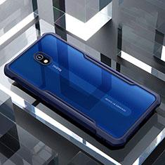 Coque Rebord Contour Silicone et Vitre Transparente Miroir Housse Etui pour Xiaomi Redmi 8A Bleu