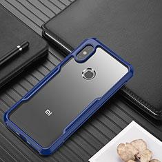 Coque Rebord Contour Silicone et Vitre Transparente Miroir Housse Etui pour Xiaomi Redmi Note 6 Pro Bleu