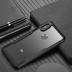 Coque Rebord Contour Silicone et Vitre Transparente Miroir Housse Etui pour Xiaomi Redmi Note 6 Pro Noir