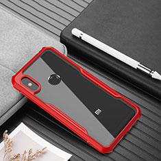 Coque Rebord Contour Silicone et Vitre Transparente Miroir Housse Etui pour Xiaomi Redmi Note 6 Pro Rouge