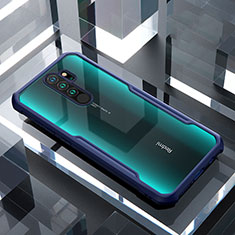 Coque Rebord Contour Silicone et Vitre Transparente Miroir Housse Etui pour Xiaomi Redmi Note 8 Pro Bleu