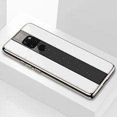Coque Rebord Contour Silicone et Vitre Transparente Miroir Housse Etui Q04 pour Huawei Mate 20 Blanc