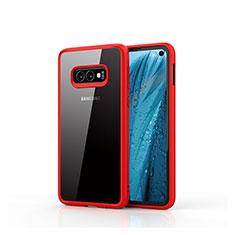 Coque Rebord Contour Silicone et Vitre Transparente Miroir Housse Etui S01 pour Samsung Galaxy S10e Rouge