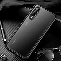 Coque Rebord Contour Silicone et Vitre Transparente Miroir Housse Etui T01 pour Huawei P30 Noir