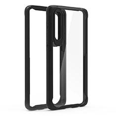Coque Rebord Contour Silicone et Vitre Transparente Miroir Housse Etui T02 pour Huawei P30 Noir