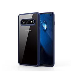 Coque Rebord Contour Silicone et Vitre Transparente Miroir Housse Etui T02 pour Samsung Galaxy S10 Bleu