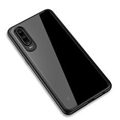 Coque Rebord Contour Silicone et Vitre Transparente Miroir Housse Etui T03 pour Huawei P30 Noir