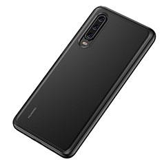 Coque Rebord Contour Silicone et Vitre Transparente Miroir Housse Etui T04 pour Huawei P30 Noir