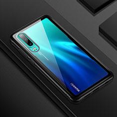 Coque Rebord Contour Silicone et Vitre Transparente Miroir Housse Etui T05 pour Huawei P30 Noir