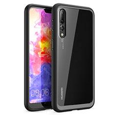 Coque Rebord Contour Silicone et Vitre Transparente Miroir Housse Etui Z02 pour Huawei P20 Pro Noir