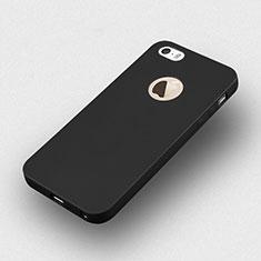 Coque Silicone avec Trou Souple Couleur Unie pour Apple iPhone 5S Noir