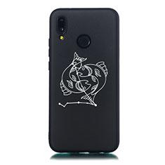 Coque Silicone Constellation Souple Couleur Unie Etui Housse S12 pour Huawei P20 Lite Noir