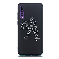 Coque Silicone Constellation Souple Couleur Unie Etui Housse S12 pour Huawei P20 Pro Noir