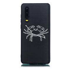 Coque Silicone Constellation Souple Couleur Unie Etui Housse S12 pour Huawei P30 Noir