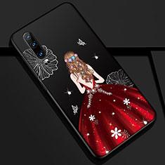 Coque Silicone Dos de Fille Souple Couleur Unie Etui Housse K02 pour Huawei P30 Rouge et Noir