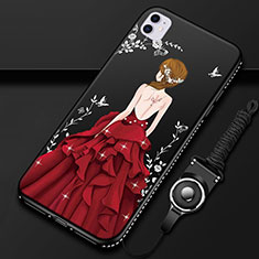 Coque Silicone Dos de Fille Souple Couleur Unie Etui Housse M01 pour Apple iPhone 11 Rouge et Noir