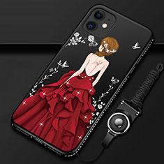 Coque Silicone Dos de Fille Souple Couleur Unie Etui Housse pour Apple iPhone 12 Rouge et Noir