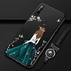 Coque Silicone Dos de Fille Souple Couleur Unie Etui Housse pour Huawei Enjoy 10 Plus Vert