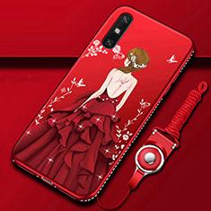 Coque Silicone Dos de Fille Souple Couleur Unie Etui Housse pour Huawei Enjoy 10e Rouge