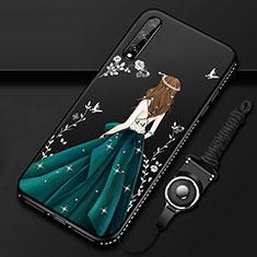 Coque Silicone Dos de Fille Souple Couleur Unie Etui Housse pour Huawei Enjoy 10S Vert