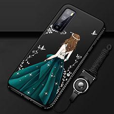 Coque Silicone Dos de Fille Souple Couleur Unie Etui Housse pour Huawei Enjoy 20 Pro 5G Vert