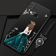 Coque Silicone Dos de Fille Souple Couleur Unie Etui Housse pour Huawei Honor 10 Lite Noir