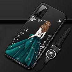 Coque Silicone Dos de Fille Souple Couleur Unie Etui Housse pour Huawei Honor 30 Lite 5G Noir
