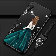 Coque Silicone Dos de Fille Souple Couleur Unie Etui Housse pour Huawei Honor 9X Pro Vert
