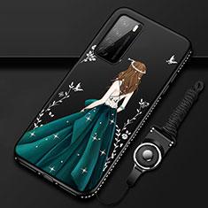 Coque Silicone Dos de Fille Souple Couleur Unie Etui Housse pour Huawei Honor Play4 5G Vert