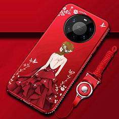 Coque Silicone Dos de Fille Souple Couleur Unie Etui Housse pour Huawei Mate 40 Pro+ Plus Rouge