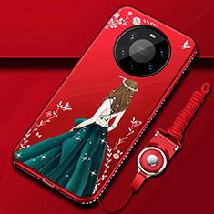 Coque Silicone Dos de Fille Souple Couleur Unie Etui Housse pour Huawei Mate 40 Pro+ Plus Vert