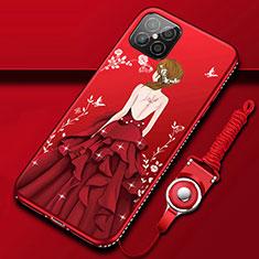Coque Silicone Dos de Fille Souple Couleur Unie Etui Housse pour Huawei Nova 8 SE 5G Rouge