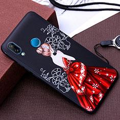 Coque Silicone Dos de Fille Souple Couleur Unie Etui Housse pour Huawei P20 Lite Rouge et Noir