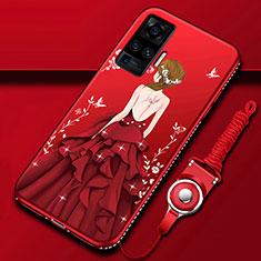 Coque Silicone Dos de Fille Souple Couleur Unie Etui Housse pour Vivo X50 Pro 5G Rouge