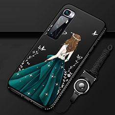 Coque Silicone Dos de Fille Souple Couleur Unie Etui Housse pour Xiaomi Mi 10 Ultra Noir