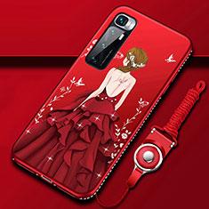Coque Silicone Dos de Fille Souple Couleur Unie Etui Housse pour Xiaomi Mi 10 Ultra Rouge
