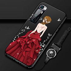 Coque Silicone Dos de Fille Souple Couleur Unie Etui Housse pour Xiaomi Mi 10 Ultra Rouge et Noir
