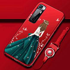 Coque Silicone Dos de Fille Souple Couleur Unie Etui Housse pour Xiaomi Mi 10 Ultra Vert