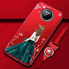 Coque Silicone Dos de Fille Souple Couleur Unie Etui Housse pour Xiaomi Mi 10T Lite 5G Vin Rouge