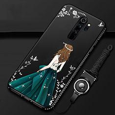 Coque Silicone Dos de Fille Souple Couleur Unie Etui Housse pour Xiaomi Redmi Note 8 Pro Noir