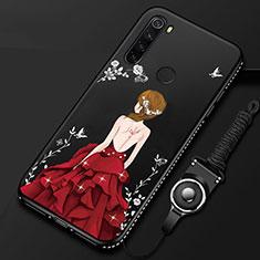 Coque Silicone Dos de Fille Souple Couleur Unie Etui Housse pour Xiaomi Redmi Note 8T Rouge et Noir