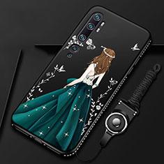 Coque Silicone Dos de Fille Souple Couleur Unie Etui Housse S01 pour Xiaomi Mi Note 10 Vert