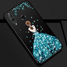 Coque Silicone Dos de Fille Souple Couleur Unie Etui Housse Z01 pour Huawei Honor 20 Lite Bleu